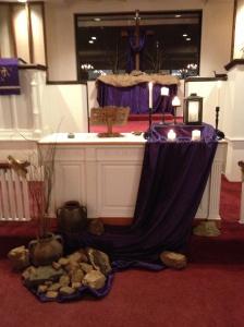 Our Sanctuary altarscape for Lent.